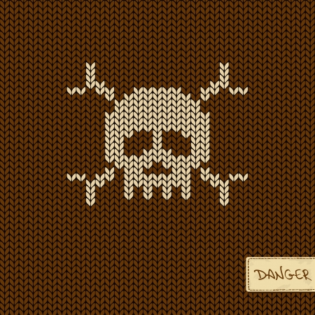 Knitted seamless pattern or background with skull and crossbones Vector