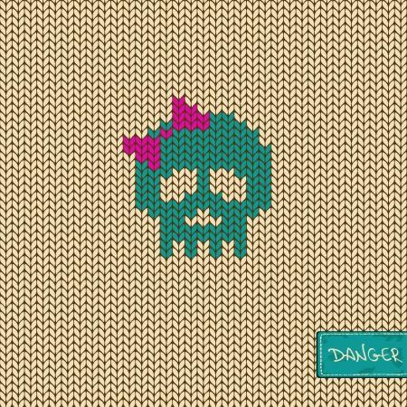 Gebreide naadloze patroon of achtergrond met grappig meisje schedel Stock Illustratie