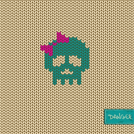 Knitted seamless pattern or background with funny girl skull Illustration