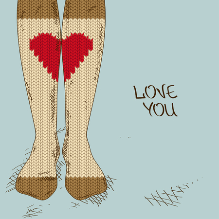 Illustration with close up girls feet in heart ornament knitted stockings  Vector