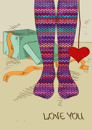 Illustration with close up girls feet in striped knitted stockings and heart gift Vector