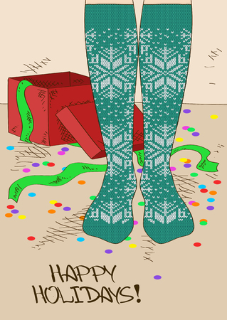 tights: Illustration with close up girls feet in Scandinavian patterned knitted stockings