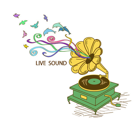 phonograph: Colorful illustration with gramophone and nature sound Illustration