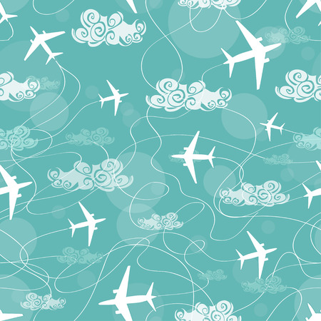 Seamless pattern of white airplanes flying in the sky Vector