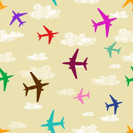 Seamless pattern of colorful airplanes flying in the sky Vector