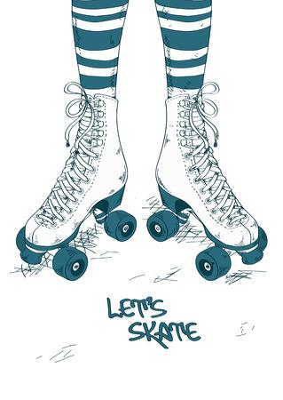 소녀의 줄무늬 스타킹 다리와 복고풍 롤러 스케이트와 그림