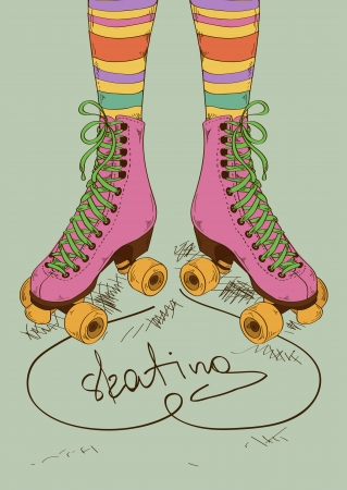 Illustration with girls legs in striped stockings and retro roller skates