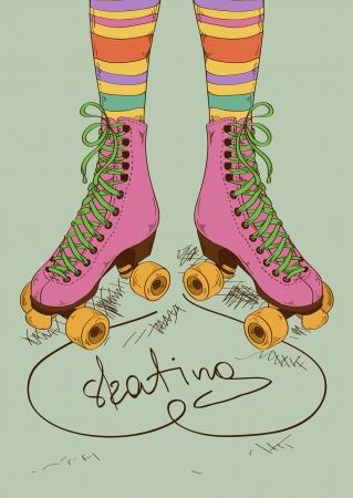 anni settanta: Illustrazione con gambe della ragazza in calze a righe e pattini a rotelle retr� Vettoriali