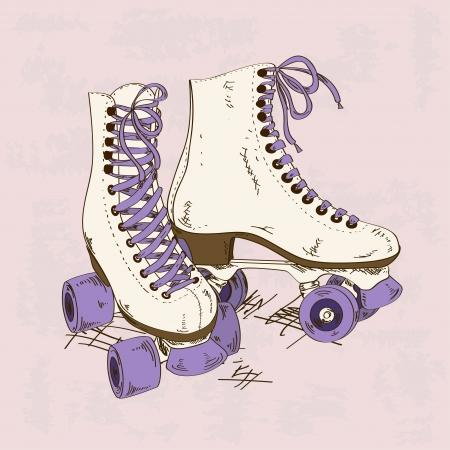 schaatsen: Illustratie met retro rolschaatsen op een grunge achtergrond Stock Illustratie