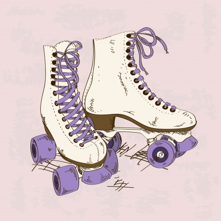 patinaje: Ilustraci�n con patines retro sobre un fondo grunge