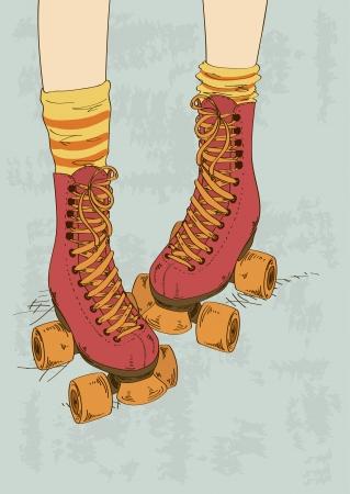 legs stockings: Illustrazione con gambe della ragazza in calze a righe e pattini a rotelle retr� Vettoriali