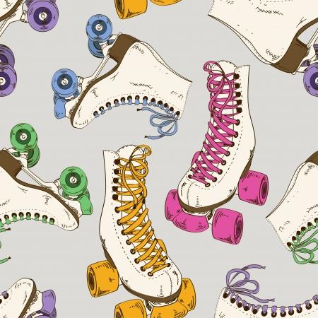 レトロなローラー スケートでのシームレスなパターン