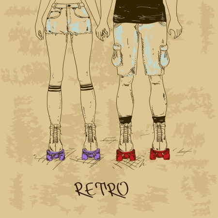 Retro illustration with girl and boy holding hands on roller skates Vector