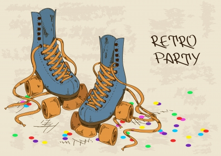 Illustration with retro roller skates on a grunge background Vector