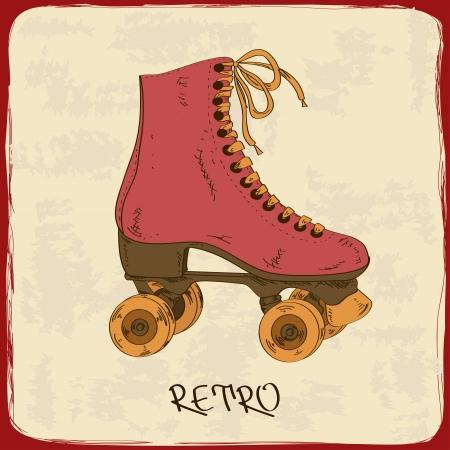 niño en patines: Ilustración con patines retro sobre un fondo grunge