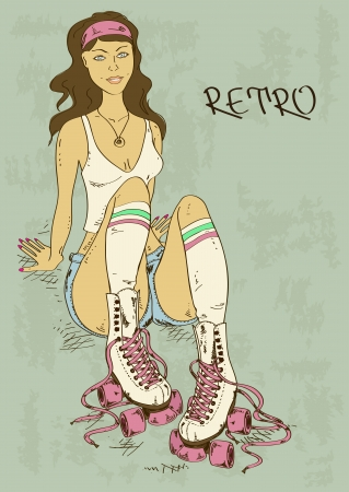blue roller: Retro illustration with beautiful sexy girl on roller skates