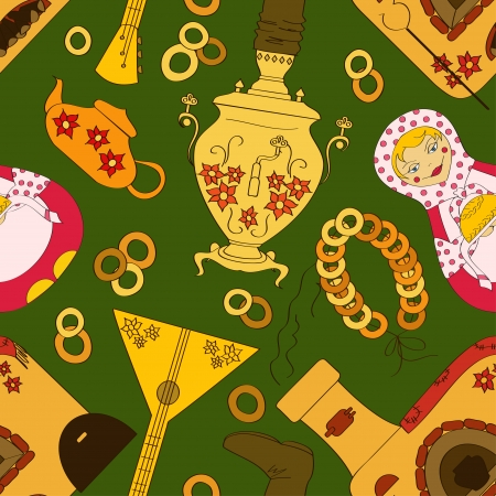 Seamless pattern with Russian samovar, oven, balalaika and tea stuff Vector