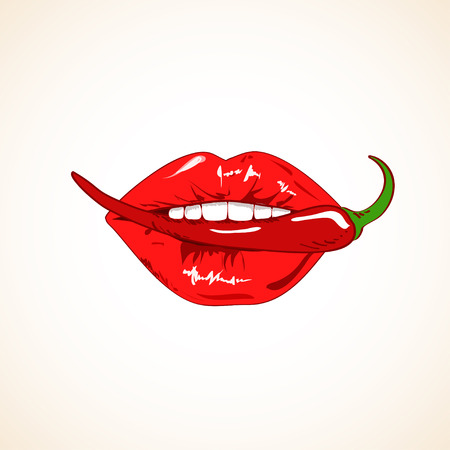 Illustration of sensual woman lips with red hot chili pepper Vector