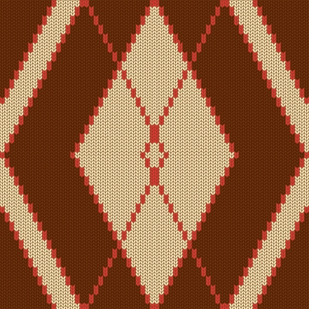 knitted fabrics: Abstract knitted seamless pattern with rhombus Illustration