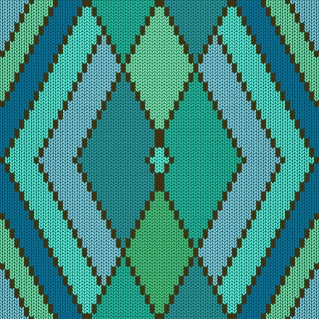 Abstract knitted seamless pattern with rhombus Vector