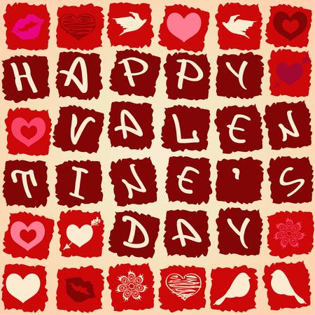 beso labios: Tarjeta de felicitación de San Valentín o patrón sin costuras como crucigrama Vectores