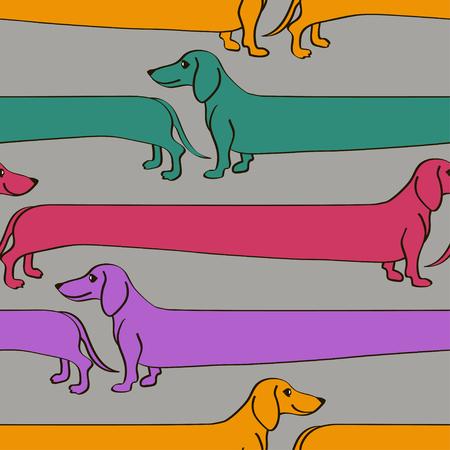 面白い漫画長いダックスフント犬のシームレス パターン