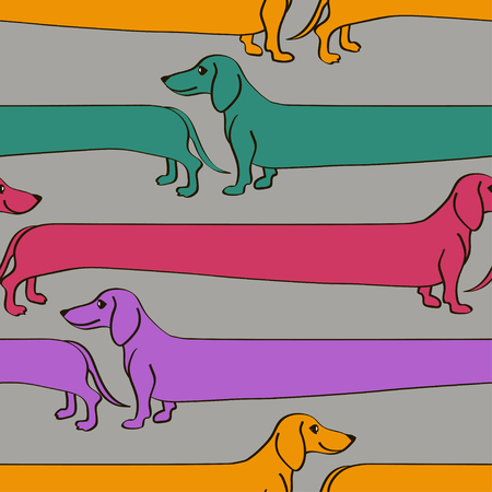 Seamless pattern with funny cartoon long Dachshund dogs