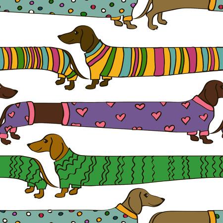 Patrón sin fisuras con la historieta divertida perros dachshund vestidas con ropa de colores Ilustración de vector