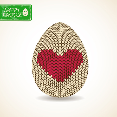 Easter greeting card with close up isolated volume knitted egg Vector