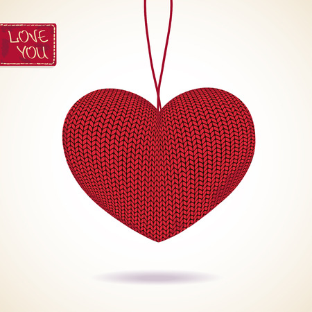 hilo rojo: Amor tarjeta de saludo con volumen colgante corazón rojo de punto Vectores