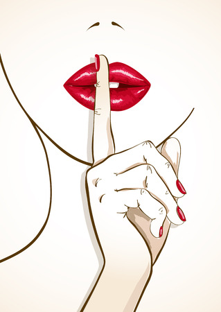 Illustration of sensual red woman lips with finger in shh sign Çizim