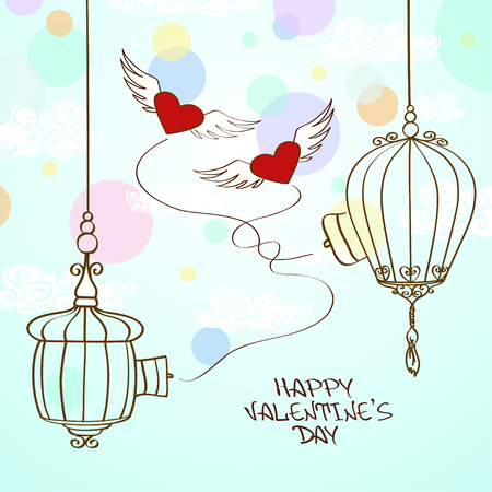 Valentines greeting card with concept winged hearts and cage Vector