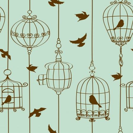 鳥やケージのヴィンテージのシームレスなパターン  イラスト・ベクター素材