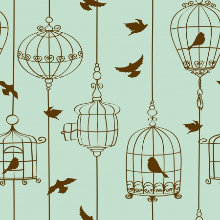 Vintage seamless pattern of birds and cages