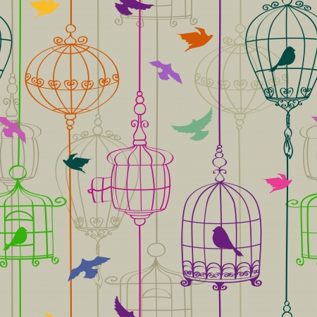 cage: Vintage seamless pattern of colorful birds and cages