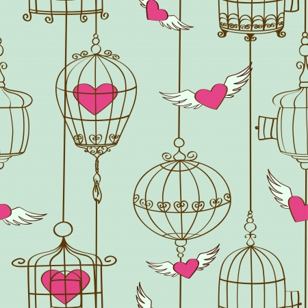 winged: Vintage seamless pattern of concept love with hearts and cages Illustration