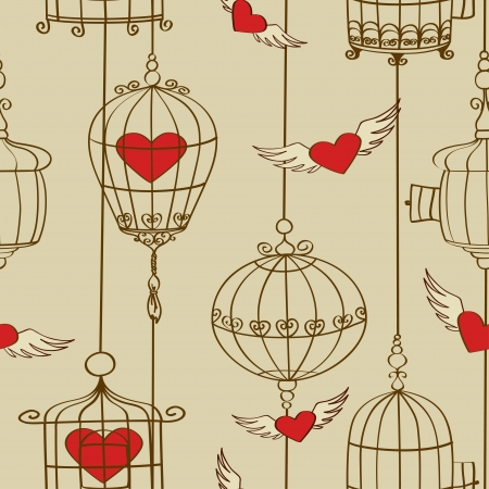 red winged: Vintage seamless pattern of concept love with hearts and cages Illustration