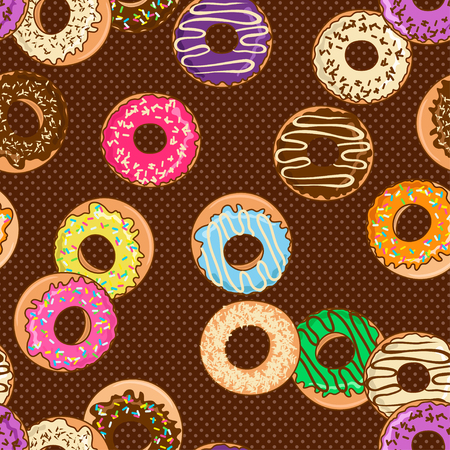 Seamless pattern of cartoon colorful donuts on a polka dot background Vector
