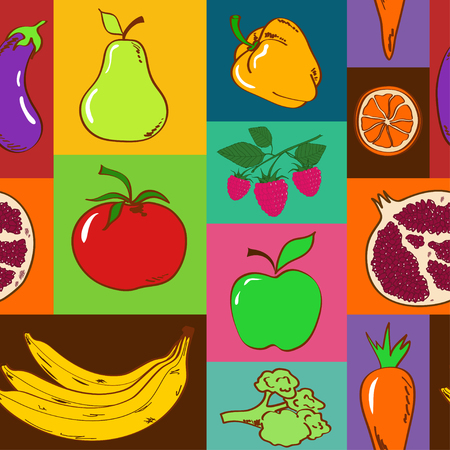 Colorful geometric seamless pattern of fruits and vegetables Vector