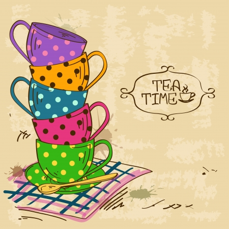 english tea: Vintage illustration with stack of colorful polka dot patterned tea cups