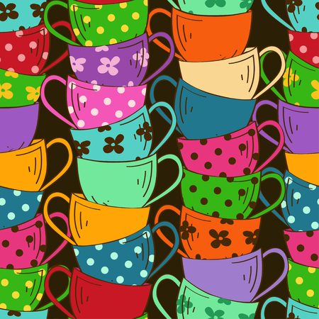Seamless pattern with stack of colorful tea cups Vector