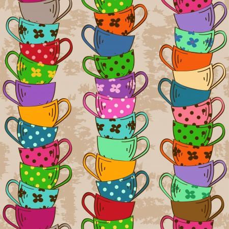 tarde de cafe: Patrón sin fisuras con la pila de coloridas tazas de té sobre un fondo de la vendimia