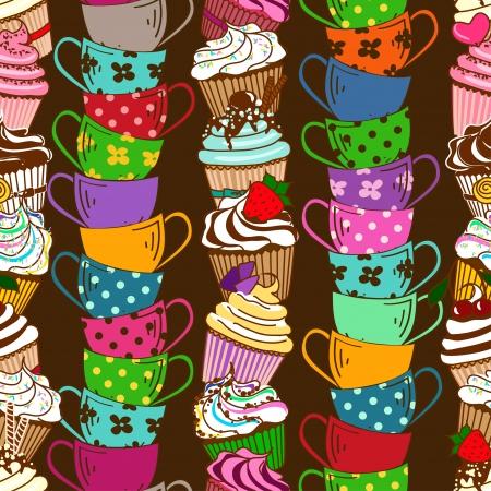 tarde de cafe: Patrón sin fisuras con la pila de pastelitos de colores y tazas de té