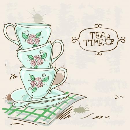 cup tea: Illustration with stack of blue porcelain tea cups on a vintage background Illustration