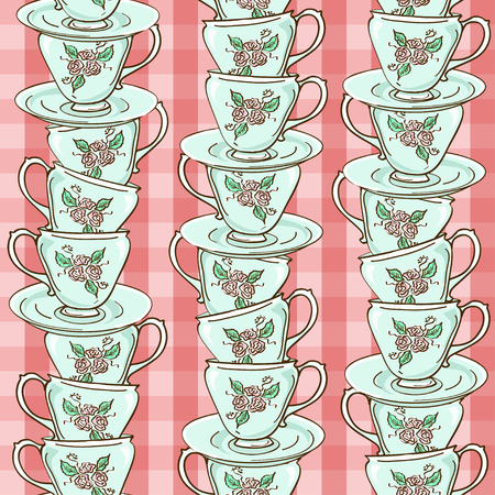 Seamless pattern with stack of blue porcelain tea cups  Vector