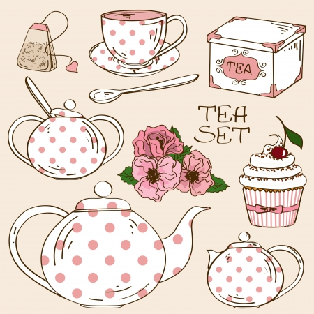pot: Set of isolated white pink polka dots tea service icons