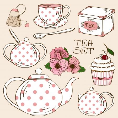 white party: Set van geïsoleerde witte roze stippen theeservies iconen Stock Illustratie