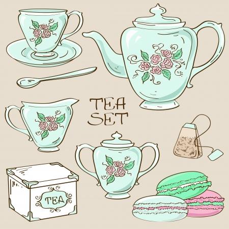 milk tea: Set of isolated blue porcelain tea service icons Illustration