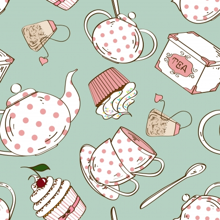 Fancy seamless pattern of white pink polka dots tea set and cupcakes