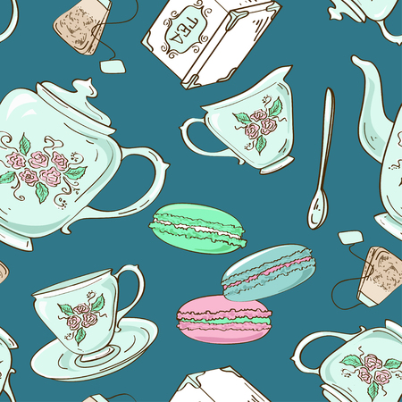 teabag: Fancy seamless pattern of blue porcelain tea set and French macaroons